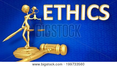 Ethics Law Concept Lady Justice The Original 3D Character Illustration