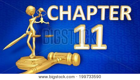 Chapter 11 Law Concept Lady Justice The Original 3D Character Illustration