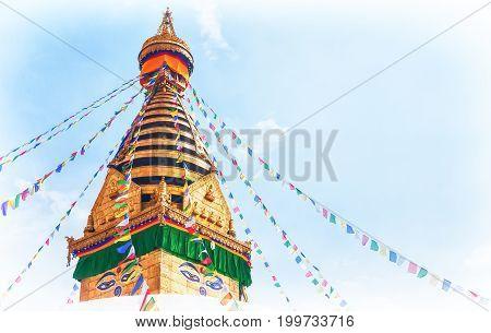 Stupa in the Swayambhunath Monkey temple Kathmandu Nepal