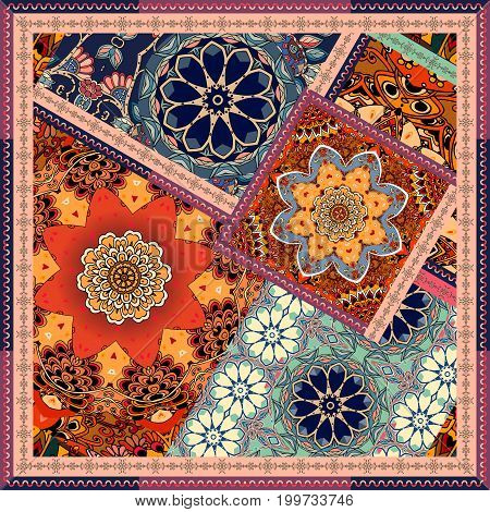 Patchwork pattern in ethnic style with flowers, mandalas. Indian, mexican, moroccan motives. Pillowcase, wrapping design, square carpet.