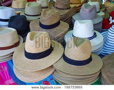 Retro vintage fashion men's hats in a shop display