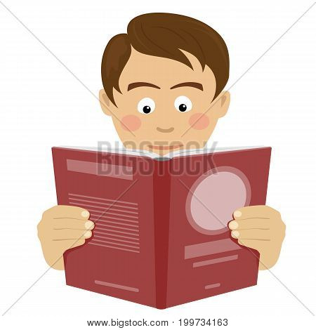 Teenager boy reading an interesting book over white background