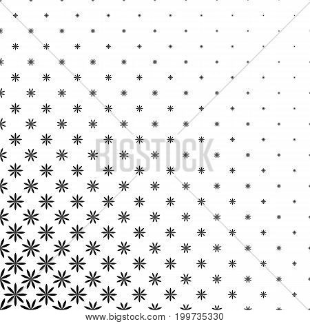 Monochromatic geometric stylized flower pattern - abstract floral vector background graphic design from curved shapes