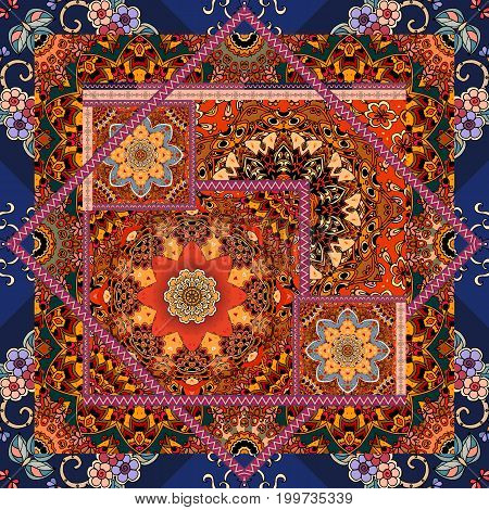 Patchwork pattern in ethnic style. Bandana print with flower mandala and ornamental frame, unique carpet, pillowcase, wrapping design. Indian, moroccan, mexican motives.