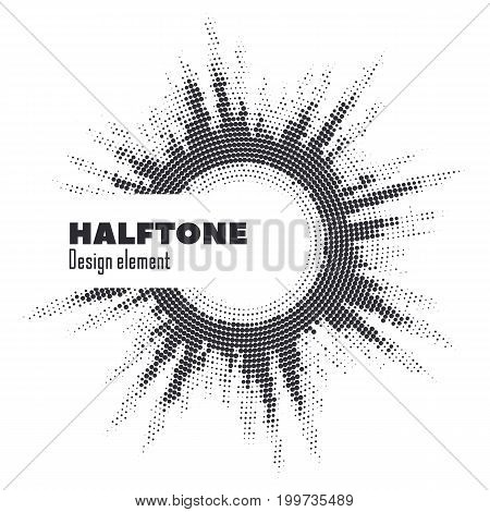 Vector abstract halftone circle frame.  Abstract dotted gradient logo design elements. Grunge halftone textured pattern with dots. Pop art dotted circle template isolated on white