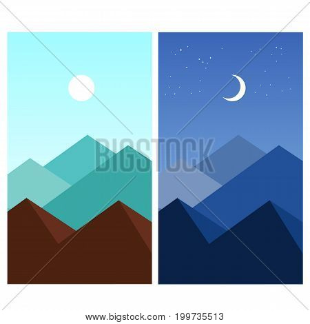 Abstract summer flat mountain landscape. Daytime, night. Wallpaper for mobile devices