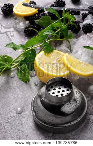 Blackberries, slices of yellow vivid lemon, green fragrant mint leaves, a silver cap of a shaker, little pieces of ice on a colorful background.