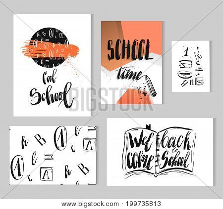 Hand drawn vector colorful modern back to school collection set with lettering black ink school phases, 3d posters, seamless patterns, cards, signs, flayers and design elements with school supplies.