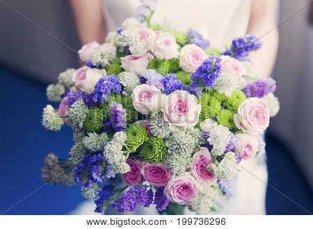 A fresh and unique flower bouquet for a wedding