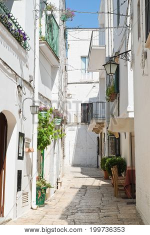 Characteristic alleyway of Cisternino. Puglia. Southern Italy.