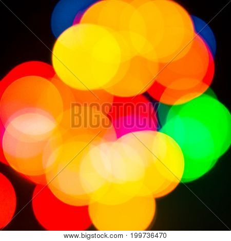 Glowing garlands in blur bright and beautifully festive mood