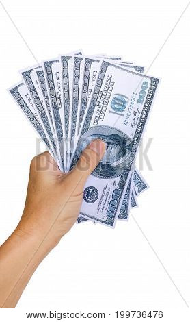 Cash in left hand.Hand holding cash isolated on white background with clipping path.