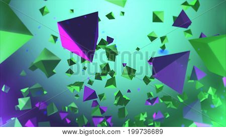 Multicolored Pyramides Flying In The Air