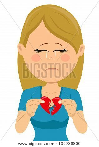 Young unhappy sad woman with a broken heart card on white