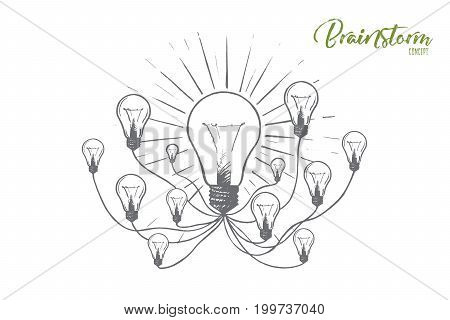 Brainstorm concept. Hand drawn lightbulbs as a symbol of new ideas. Ideas for effective business isolated vector illustration.