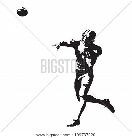 American football player throwing ball abstract vector silhouette