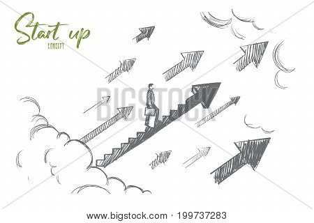 Start up concept. Hand drawn businessman start to climb up growth stair. Succesful business isolated vector illustration.
