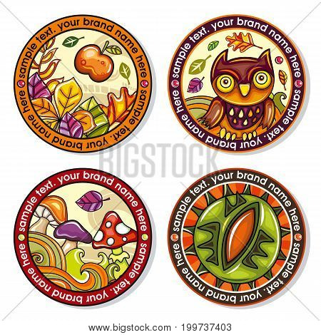 Vector set of Seasonal Autumn round drink coasters for cold hot beverages. Cartoon fall designs for bar pub coffee shop to place tea mug or beer bottle. Laves nuts owls mushrooms and chestnuts