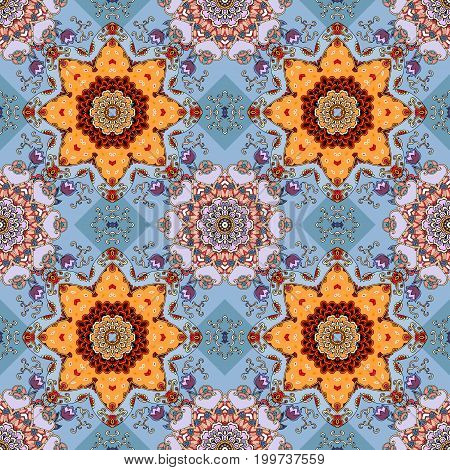 Seamless floral pattern. Beautiful print for fabric with lilac tulips and mandalas on blue background.