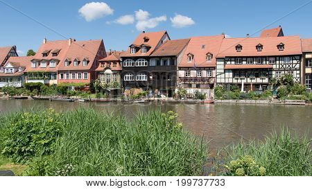 Historical buildings close to the river Regnitz in Bamberg, Bavaria, Germany, Europe