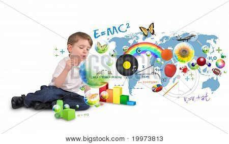 Smart Genius Boy Blowing Scinec and Art Bubbles