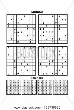 Four sudoku puzzles of comfortable (easy, yet not very easy) level, on A4 or Letter sized page with margins, suitable for large print books, answers included. Set 8.