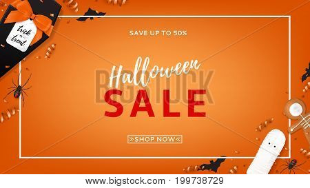 Halloween sale vector web banner. Top view on spiders, paper bats and confetti on orange backdrop. Vector illustration with black gift box in the form of coffin. Special seasonal offer.