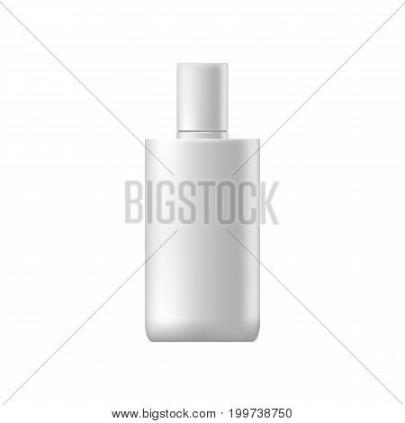 Vector Blank Templates Of Empty And Clean White Plastic Container.  White Glossy Plastic Tube For Me