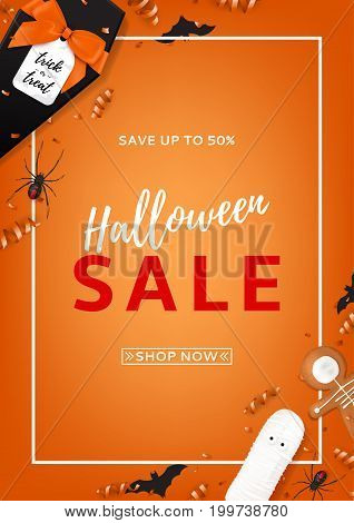 Halloween sale vector flyer. Top view on spiders, paper bats and confetti on orange backdrop. Vector illustration with black gift box in the form of coffin. Special seasonal offer.