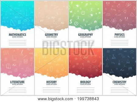 Set Of Banners School Notebook Template. Back To School Background. Education Banner.
