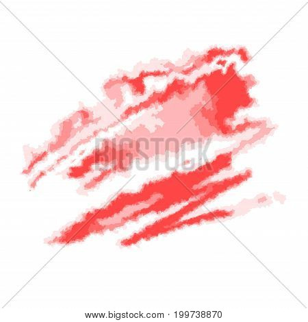 Red abstract watercolor spot. Vector illustration, isolated on white background.