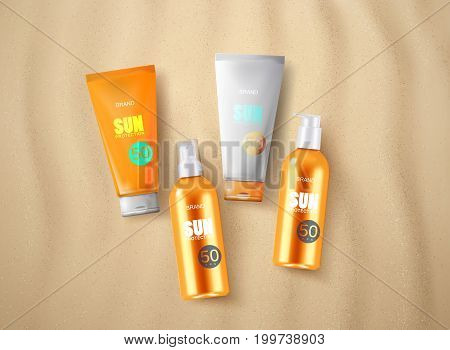 Solar UV protection cosmetics on the sandy beach background. Oil spray bottles and cream tubes for tanning with moisturizing effect. Packaging design. Vector illustration. Cosmetics mockup design.