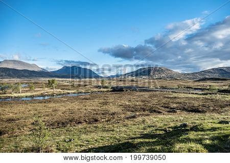 The road through the amazing landscape of Rannoch Moor, Scotland