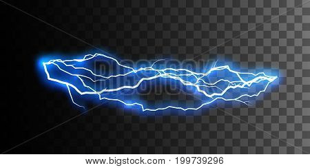 Isolated realistic shiny lightning or electricity blast isolated on checkered transparent background. Electric discharge. Thunderbolt or lightning visual effect for design. Vector illustration