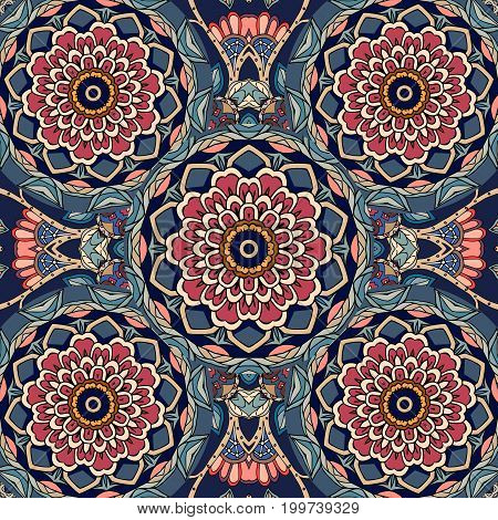 Floral indian pattern with red lotus flower.