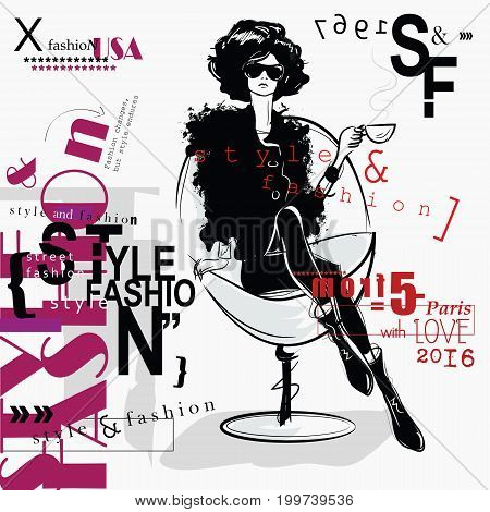 Fashion woman in sketch style. Vector illustration