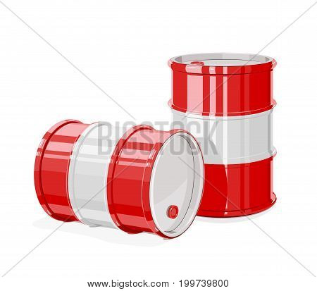 Two Black metal barrel for oil. Equipment transportation fuel. Isolated white background. Vector illustration.