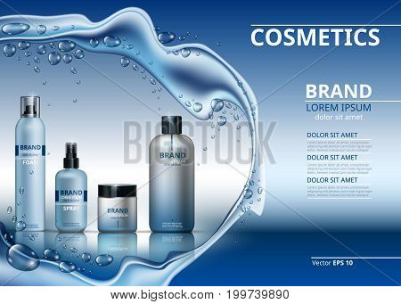 Vector Realistic Cosmetics set collection packages. Bottles for beauty products with logo label design. Hydrating Skin care spray and cream. Mock up 3D. Sparkling water drops background