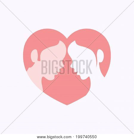 Faces of young man and woman in side view within heart shaped silhouette
