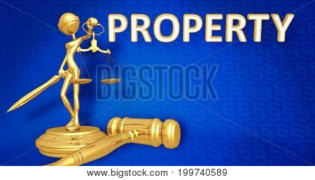 Property Law Concept Lady Justice The Original 3D Character Illustration