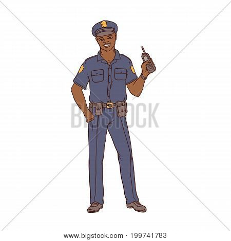 Man black policeman in uniform and cap with a portable radio in hand. Worker security and law enforcement. People of professions. Vector colored sketch of realistic illustration