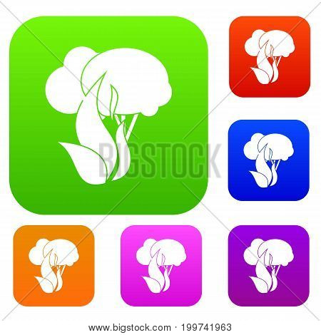 Burning forest trees set icon in different colors isolated vector illustration. Premium collection