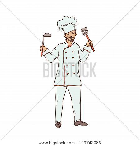 Male chef of the restaurant in uniform and white hat with ladle and slotted spoon in hand. Worker of sphere of public catering. People of professions. Vector colored sketch of realistic illustration
