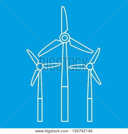 Windmill icon blue outline style isolated vector illustration. Thin line sign