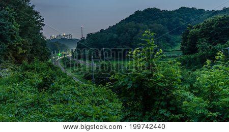 Night Photo Train Tracks In Countryside