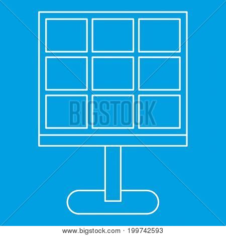 Solar battery icon blue outline style isolated vector illustration. Thin line sign