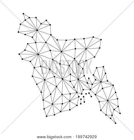 Bangladesh map of polygonal mosaic lines network rays and dots vector illustration.