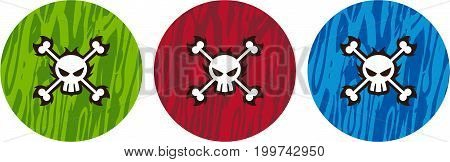 Cartoon Pirate Skull and Crossbones Vector Illustration