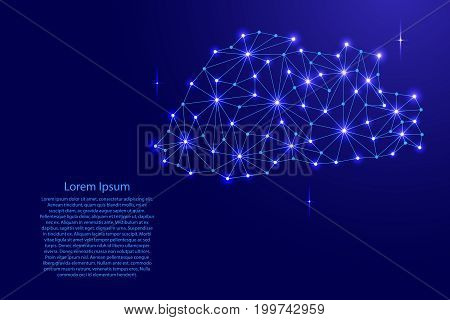 Bhutan map of polygonal mosaic lines network rays and space stars of vector illustration.