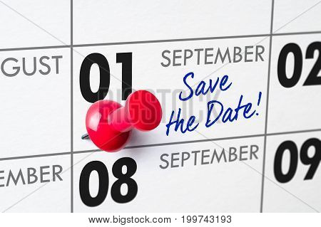 Wall Calendar With A Red Pin - September 01